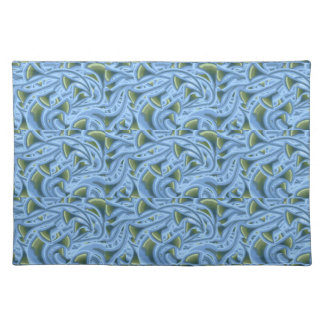 FLOWER FLORAL FUNNEL SHAPES BLUE GREEN PLACEMATS