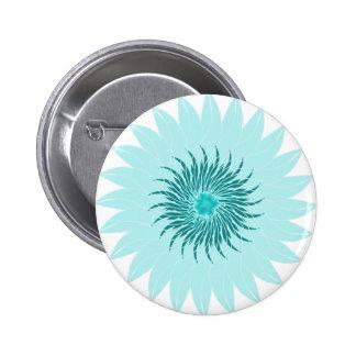 Flower floral sea foam green blue pinback button