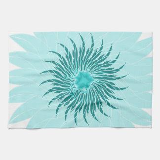 Flower floral sea foam green blue towels