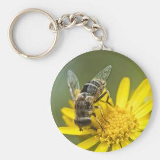 Flower Fly on Tansy Ragwort Basic Round Button Keychain