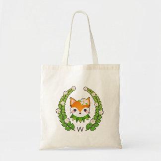 Flower Fox Monogrammed Tote Bag