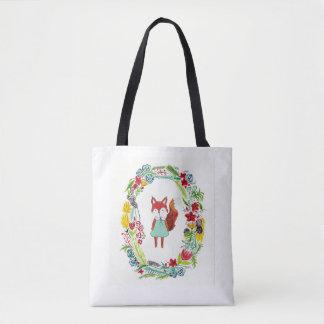 Flower Fox Tote Bag