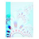 Flower · Fractal Art · Turquoise Customized Letterhead