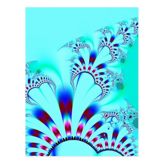 Flower · Fractal Art · Turquoise Postcard