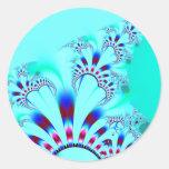 Flower · Fractal Art · Turquoise Round Sticker