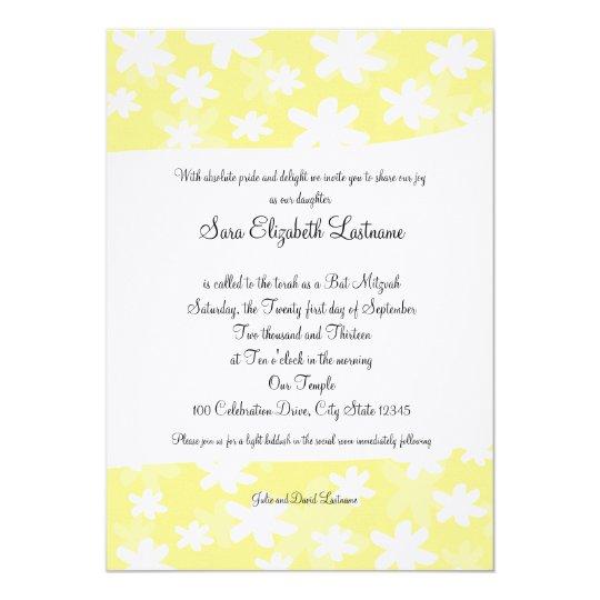 Flower Fresh Yellow Bat Mitzvah Invite