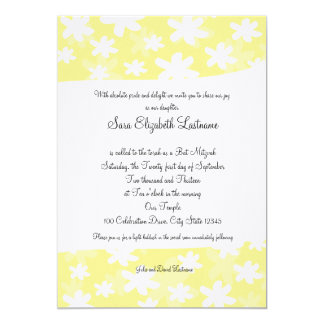 Flower Fresh Yellow Bat Mitzvah Invite