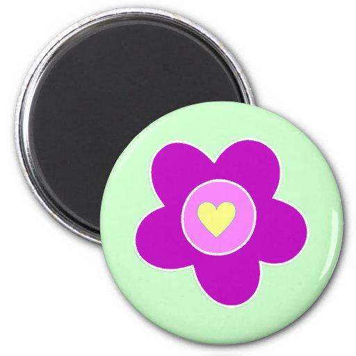 Flower Fun 2 Inch Round Magnet