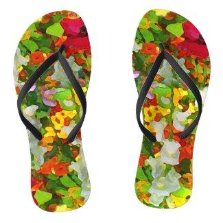 Flower Garden Abstract Flip Flops