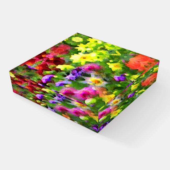 Flower Garden Abstract Glass Paperweight