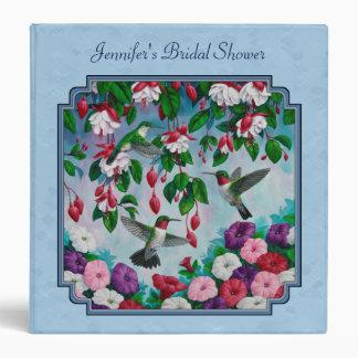 Flower Garden and Hummingbirds Blue 3 Ring Binder