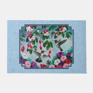 Flower Garden and Hummingbirds Blue Doormat