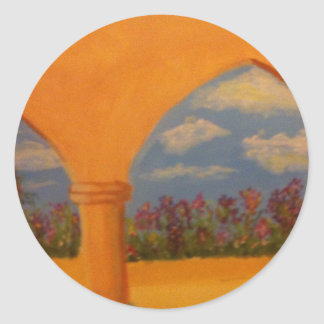 Flower Garden Arches Classic Round Sticker