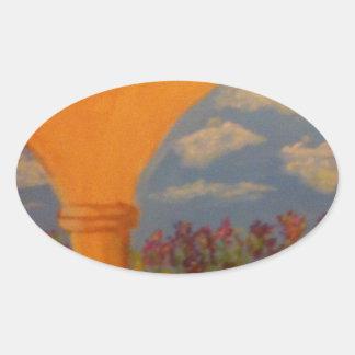 Flower Garden Arches Oval Sticker