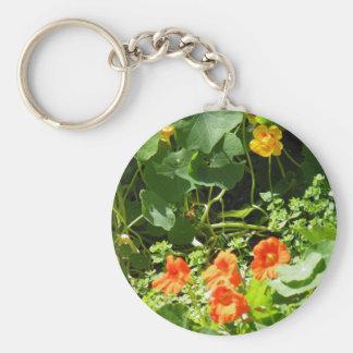 Flower Garden Basic Round Button Keychain
