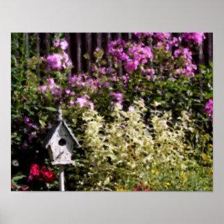 Flower Garden Bird House Pastel Painting Print