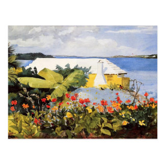 Flower Garden & Bungalow Watercolor by Homer Postcard