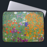 """Flower Garden by Gustav Klimt Computer Sleeve<br><div class=""""desc"""">A laptop sleeve with the oil painting by Gustav Klimt (1862-1918),  Baumgarten or Flower Garden (c. 1906). A colorful depiction of petunias,  asters,  and other flowers in the garden from the Art Nouveau period.</div>"""
