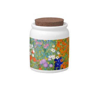 Flower Garden by Gustav Klimt Vintage Floral Candy Jars