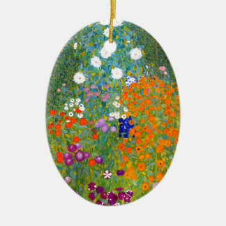 Flower Garden by Gustav Klimt Vintage Floral Ceramic Ornament