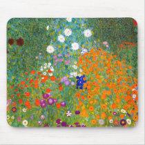 Flower Garden by Gustav Klimt Vintage Floral Mouse Pad