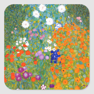 Flower Garden by Gustav Klimt Vintage Floral Square Sticker