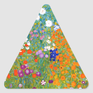 Flower Garden by Gustav Klimt Vintage Floral Triangle Sticker