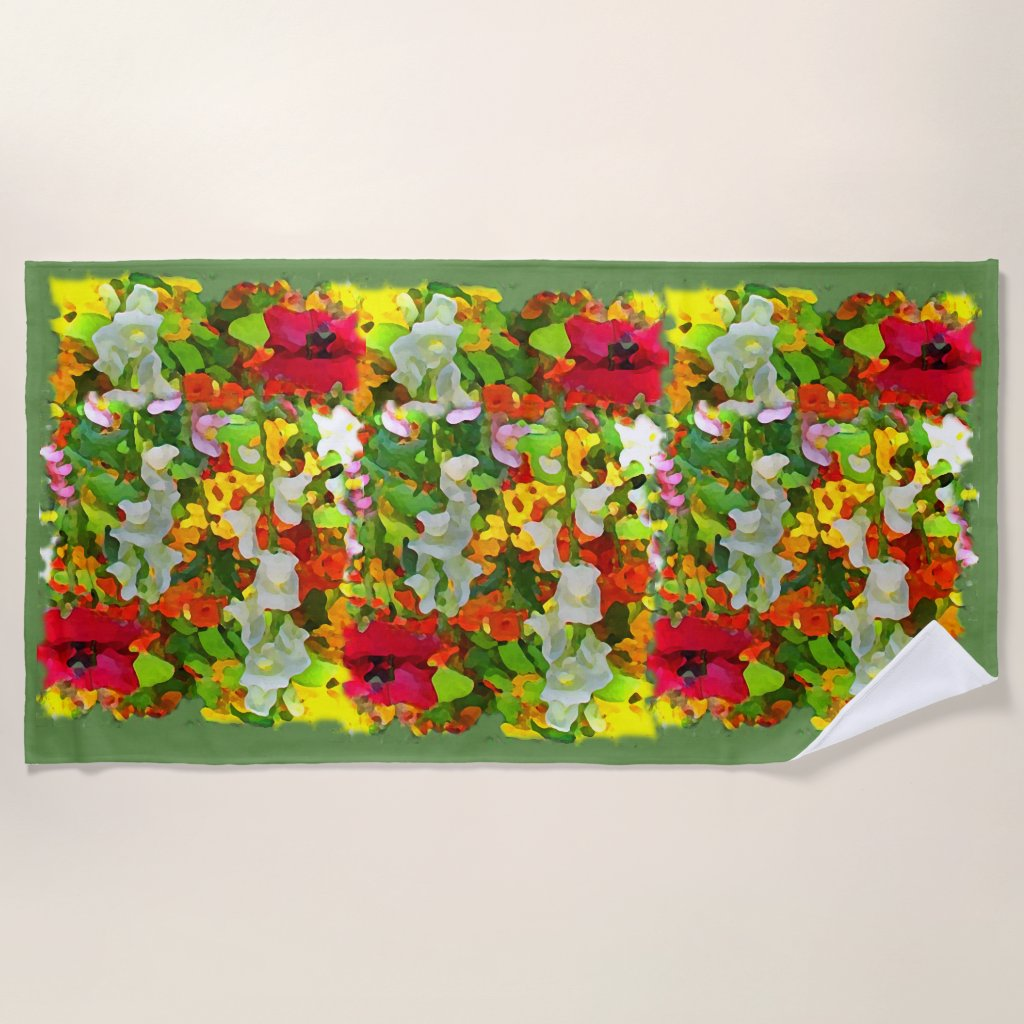 Flower Garden Colors Floral Beach Towel