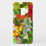 "Flower Garden Colors Floral Galaxy S9 Case<br><div class=""desc"">This lovely Samsung Galaxy S9 case features an abstract floral pattern of an informal garden setting with pink and white snapdragons,  nasturtiums in orange,  yellow and red and one red poppy.  What a wonderful idea for gardeners!</div>"