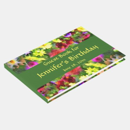 Flower Garden Floral Birthday Party Guest Book