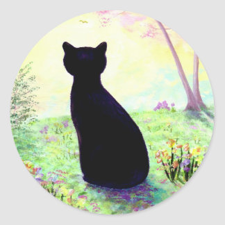 Flower Garden Floral Black Cat Creationarts Classic Round Sticker