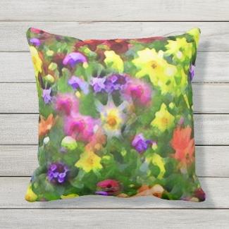 Flower Garden Floral Outdoor Pillow