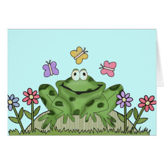 Flower Garden Frog T-shirts and Gifts Greeting Cards