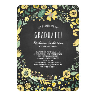 "Flower Garden | Graduation Party Invitation 5"" X 7"" Invitation Card"