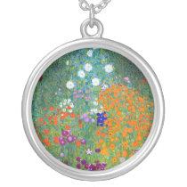 Flower Garden, Gustav Klimt Silver Plated Necklace