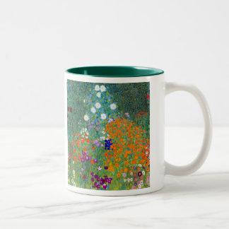 Flower Garden, Gustav Klimt Two-Tone Coffee Mug
