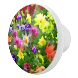 Flower Garden Impressions Ceramic Knob