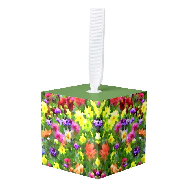 Flower Garden Impressions Floral Cube Ornament