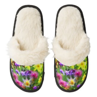 Flower Garden Impressions Pair of Fuzzy Slippers