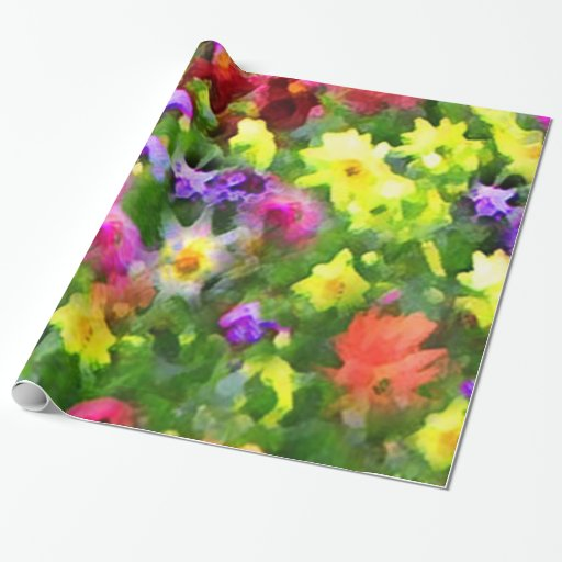 Flower Garden Impressions Wrapping Paper Zazzle
