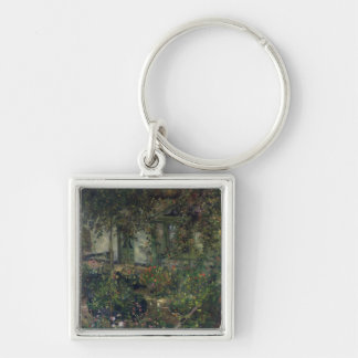Flower garden in bloom, 1904 Silver-Colored square keychain