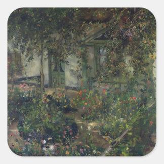 Flower garden in bloom, 1904 square sticker