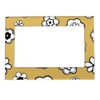 Flower Garden in Light Mustard Yellow Magnetic Picture Frame