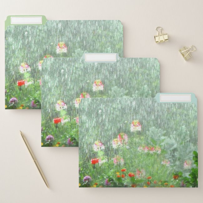 Flower Garden in Rain Green Floral File Folder Set