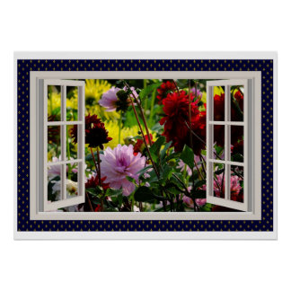 Flower Garden, Kitchen Window, Dahlias Poster