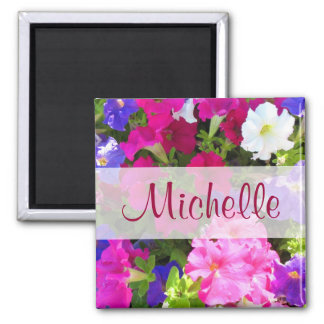 flower garden name 2 inch square magnet