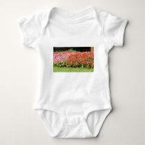 Flower Garden of Pink & Red Flowers Next to Grass Baby Bodysuit