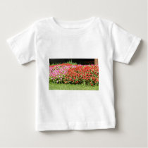 Flower Garden of Pink & Red Flowers Next to Grass Baby T-Shirt