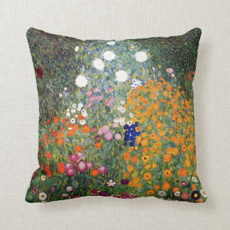 Flower garden painting Gustav Klimt Throw Pillows