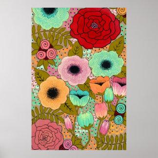Flower Garden Painting Poster Art Print
